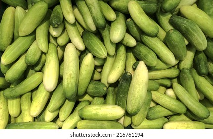 close up fresh green Thai cucumber collection outdoor on market
