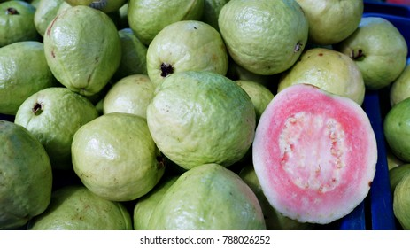 Close up of fresh guava on display for sale