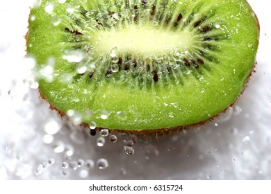 close up of fresh kiwi under the water