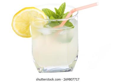 Close up of fresh lemonade glass isolated on white background