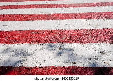 Close up of fresh new red and white stripes, horizontal signal lines. Striped pedestrian crosswalk with black shadows from trees