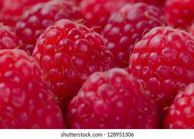 close up of fresh ripe red raspberries