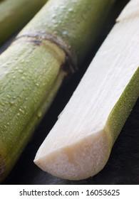 Close up of Fresh Sugar Cane Split in Half