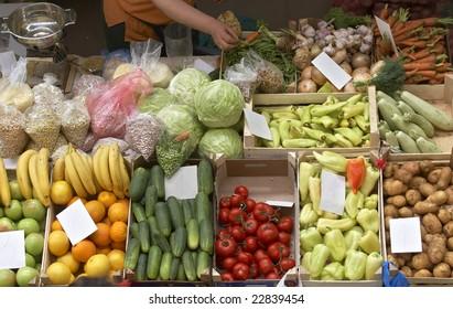 close up of fresh vegetables on market