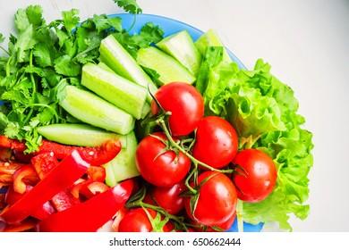 Close up fresh vegetables for salad