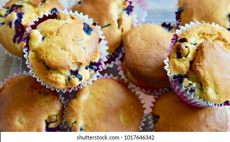 Close up of freshly baked homemade blueberry muffins