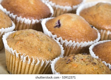 Close up of freshly baked muffins