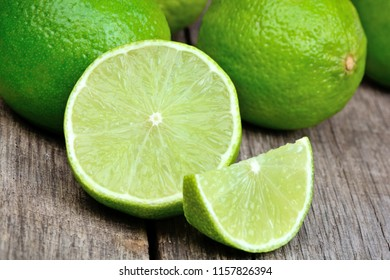 Close up of freshness limes on a wood table