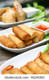 Close up Fried Chinese Traditional Spring rolls food
