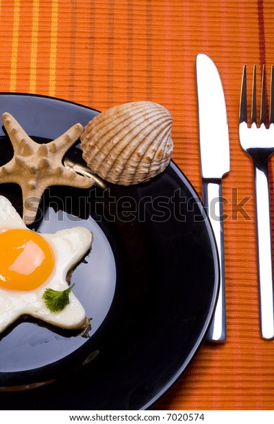 a close up with fried egg