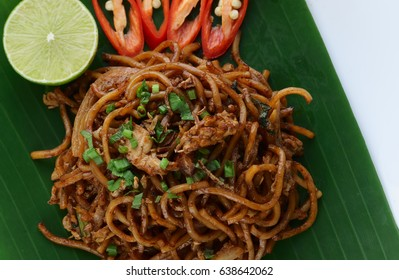 Close up fried noodles, mi goreng or mee goreng mamak