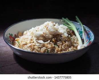 Close up fried rice with crab meats