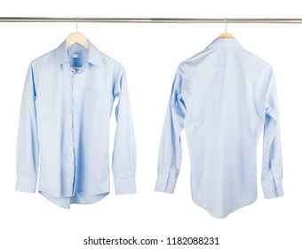 Close up of front and back views of blue shirts or business clothes on wooden hangers, People concept, Set of mans fashion and accessories. Mockup template for design print. casual or formal tshirt.