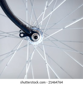close up of front bicycle wheel