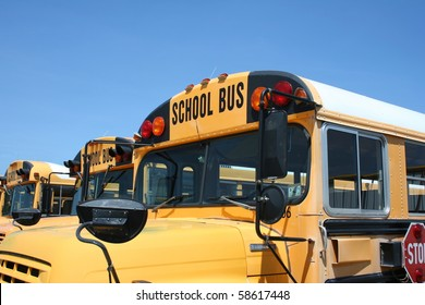 A close up of the front of a school bus