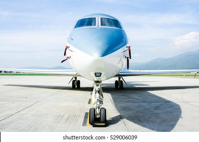 Close Up Front of Small Airplane or Aeroplane Parked at Airport.Small Airplane Famous to use Private Airplane.Mountain View.