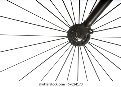 Close up of the Front wheel of a bicycle