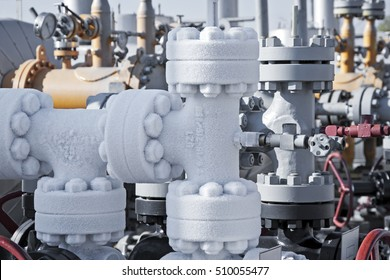 Close up of a frozen natural gas pipeline