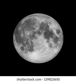 Close up of Full moon, lunar on dark night sky, black space, black background