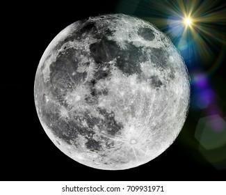 Close up of full moon with sunlight flare seen with the telescope from northern hemisphere. Showing detail of moon surface. Isolated background.