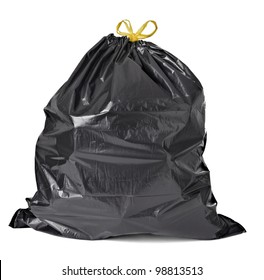 close up of a garbage bag on white background with clipping path