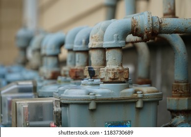 Close up of gas meter pipes