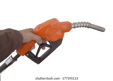 close up gas pump for refueling car on gas station isolated on white