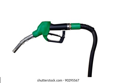 close up of a gas station handle on white background with clipping path