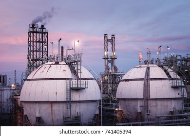 Close up of Gas storage sphere tanks in petrochemical industry or oil and gas refinery plant at twilight