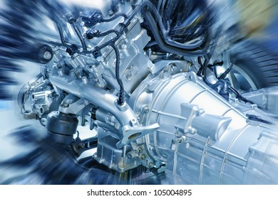 Close up of gasoline car engine