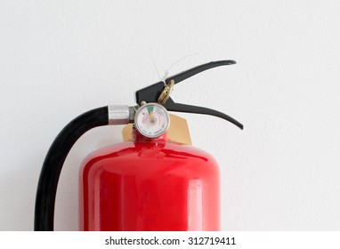 Close up gauges Fire safety on white cement wall background.