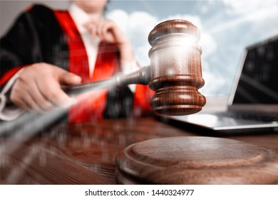 Close up gavel judge with lawyer working at courtroom.