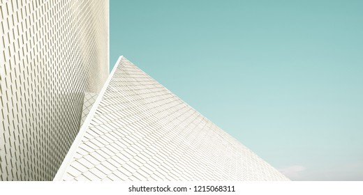 Close up of a geometric structure roof fragments . Abstract architecture background .