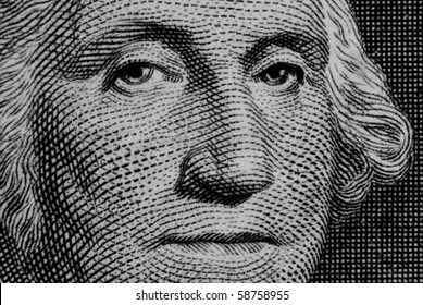 Close up of george washington on a dollar bill