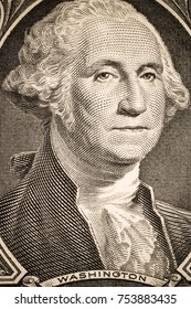 Close up to George Washington portrait on one dollar bill. Toned.