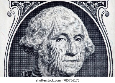 close up of george washington portrait in us dollar banknote background