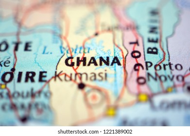 close up Ghana on map
