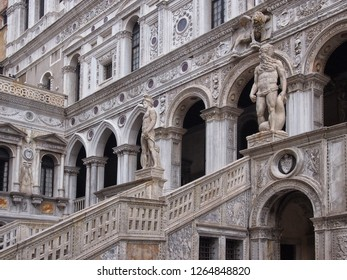 close up of the the giants staircase in the courtyard of the palazo ducale in venice italy
