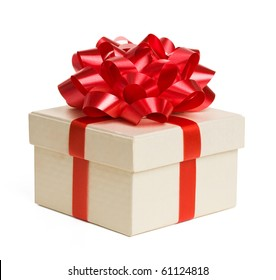 Close up of gift box with red bow isolated on white background.