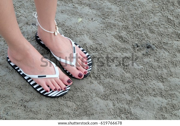 Close Girls Feet Walking Flip Flops