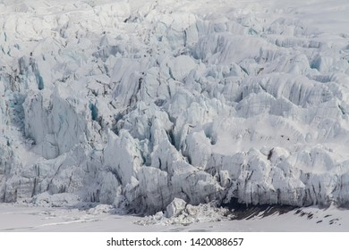 close up of glacier structures at sunny day