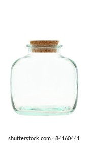 Close up of glass bottle on white background