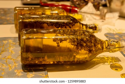 Close up the glass bottle.flowers with extraction of natural flavor.