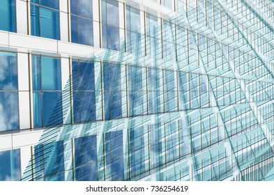 Close up glass of building window cityscape abstract background multiply effect selective focus