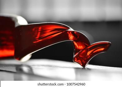 Close up of a glass sculpture.