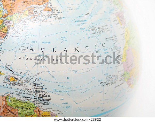 Close up of a globe, focused on Atlantic ocean and surrounding areas.