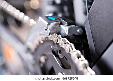 close up of  a glossy  bicycle gear