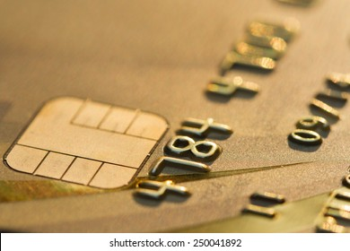 close up gold color credit card. concept EMV chip is a  technical standard for smart payment cards  , One of the digital banking, It gives the customer a more comfortable.