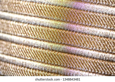 Close Up of Gold Coloured Stripe Fabric