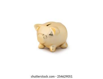 close up of a gold piggy bank